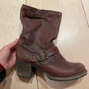 Frye 'distressed slouch' engineer boots